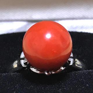 天然赤珊瑚 プラチナ ダイヤモンド リング ケース付き(リング(指輪))