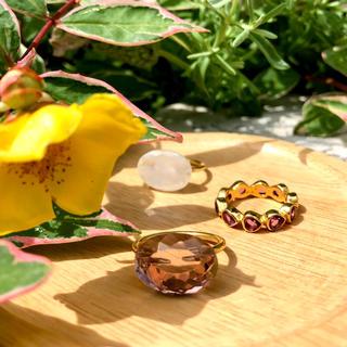 新品 ピンクモルガナイト オーバル リング インドジュエリー(リング(指輪))
