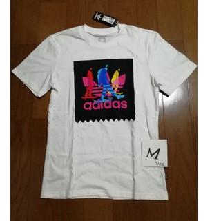 adidas - adidas サイズM 三つ葉イラストボックスロゴT 白M 未使用タグ付き