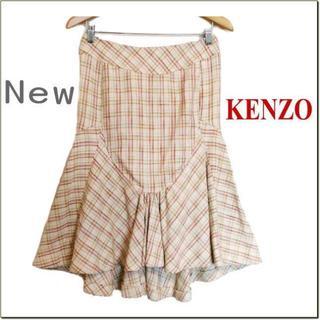 ケンゾー(KENZO)の新品タグ付き◆KENZO◆マルチコットン織り込みテールカットスカート◆38(ひざ丈スカート)