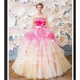 YNS カラードレス ピンク フラワー
