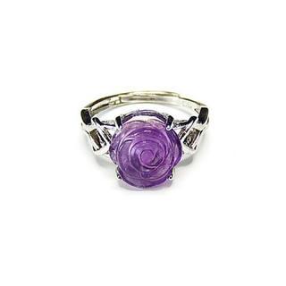アメジストバラ手彫り指輪リングAAA天然石約15号石街U0174(リング(指輪))