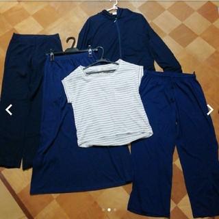 シマムラ(しまむら)の新品 パーカー ロングスカート パンツ Tシャツ ネイビー 紺 UNIQLO(ロングスカート)