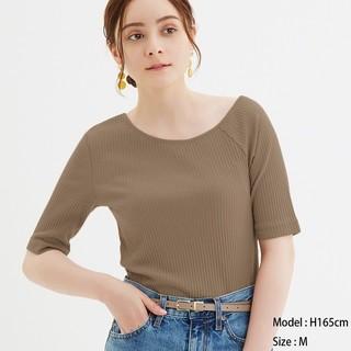 GU - 未使用 リブアシンメトリーネックTシャツ ジーユー