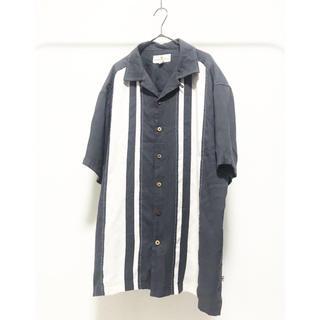 ヨウジヤマモト(Yohji Yamamoto)のvintage ヴィンテージ 小豆色 レーヨン ライン 柄 半袖 アロハシャツ(シャツ)