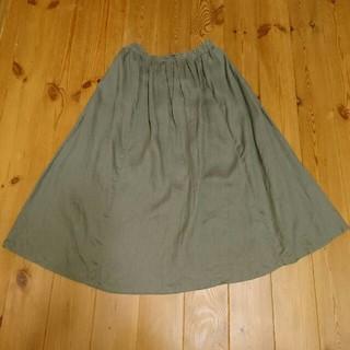 MUJI (無印良品) - 無印良品 イージーリネン マキシ スカート カーキ S
