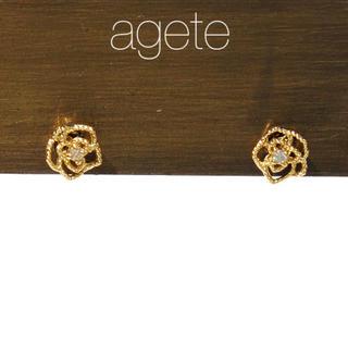 agete - ★現行品★【agete CLASSIC】K18 ダイヤ ローズピアス