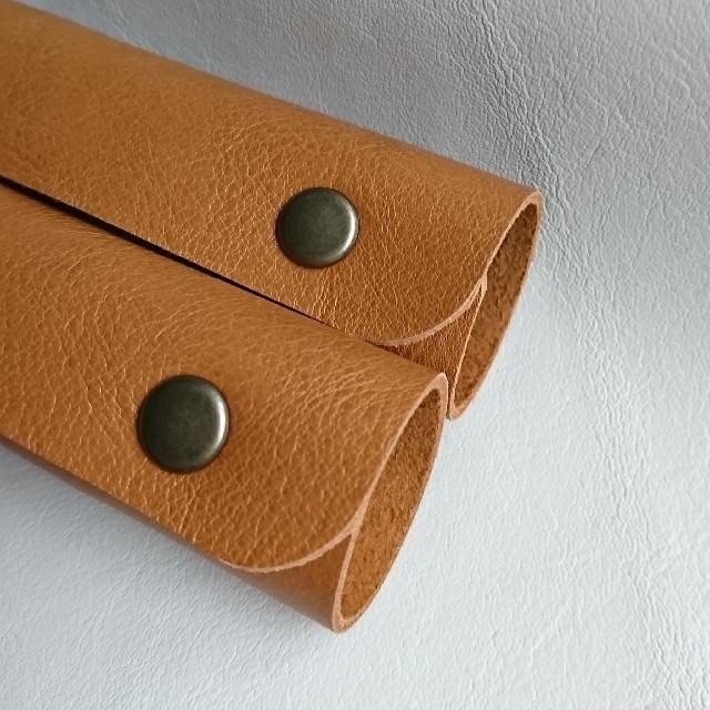 【即購入可】本革持ち手カバー2個セット ハンドメイドのファッション小物(バッグ)の商品写真