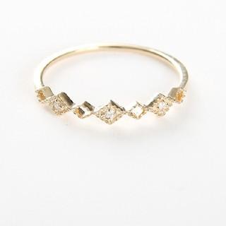 ete - エテ K10 リング  ダイヤモンド 7号 レイヤード ダイヤパターン 美品