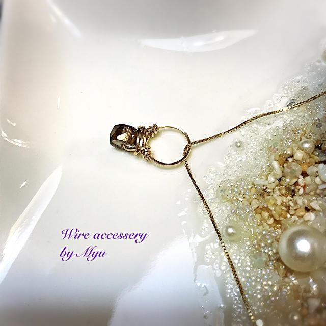 1点物*14kgf宝石質スモーキークォーツのチビリング ハンドメイドのアクセサリー(チャーム)の商品写真