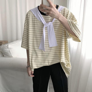 韓国ファッション メンズ トップス 半袖tシャツ カジュアル トレンド ボーダー(Tシャツ/カットソー(半袖/袖なし))