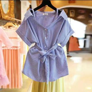 snidel - ラスト1点!ストライプ柄シャツ ウエストマークシャツ 半袖シャツ 夏物 新商品