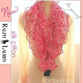 新品 セール★ラルフローレン スカーフ 真夏も涼しいシルク お顔が綺麗に映るお色