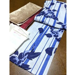 新品 高級浴衣 高級リバーシブル帯 セット ボタン 青 藍色 ブルー 水色 あさ(浴衣)