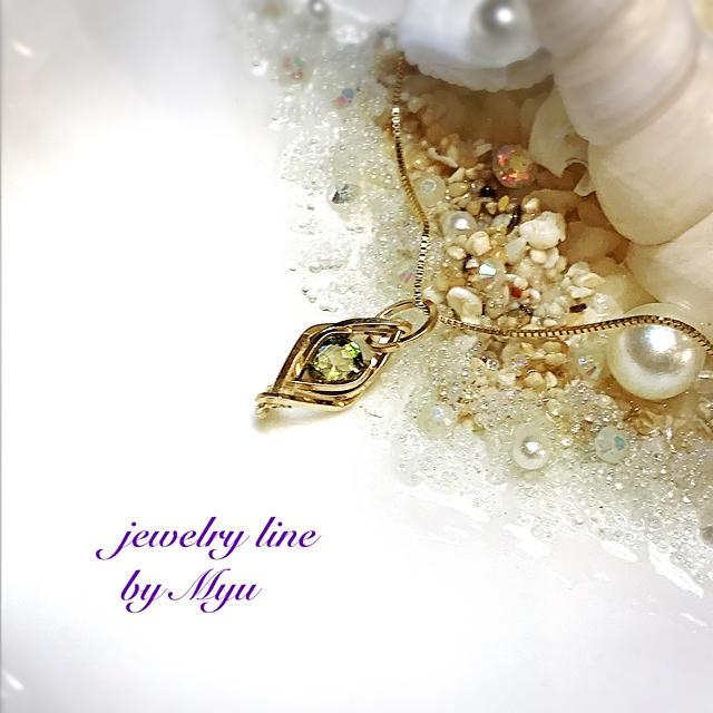 1点特価*14kgf宝石質カーキトルマリン編み込みペントップ ハンドメイドのアクセサリー(チャーム)の商品写真