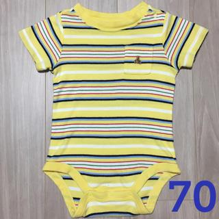 ベビーギャップ(babyGAP)のロンパース(70cm) ★黄色ストライプ(ロンパース)