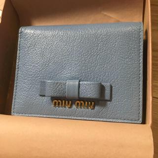 ミュウミュウ(miumiu)のMIU MIU 折り財布 ブルー ミュウミュウ(財布)