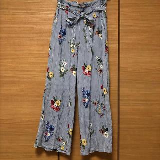 シマムラ(しまむら)の花柄×ストライプ ワイドパンツ(その他)