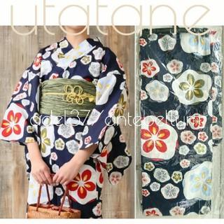 新品単品utatane高級変わり織り浴衣150紺地に白抜き梅の花ハイジュニアXS(浴衣)