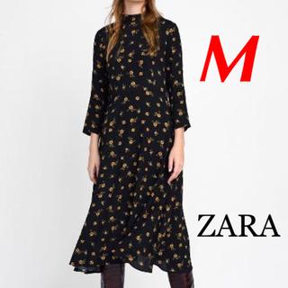 ZARA - 新品 完売品 ZARA M 花柄 ミディ ワンピース