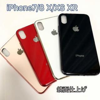 ガラス iPhone7 8 X XS XR ケース apple ロゴ アップル