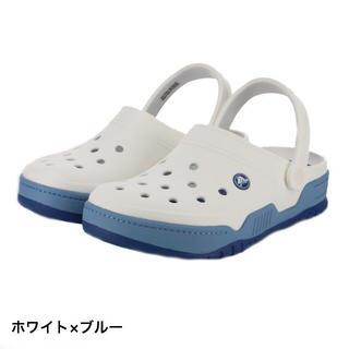 クロックス(crocs)の希少 クロックス 25cm ホワイト ブルー フロントコート クロッグ(サンダル)