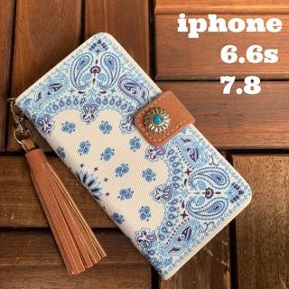 iphone6.6s.7.8対応 ペイズリー柄・麻キャンパス生地の手帳型ケース