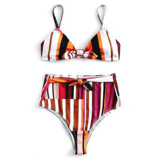Multicolor Striped Knot Bikini Set[Sサイズ](水着)