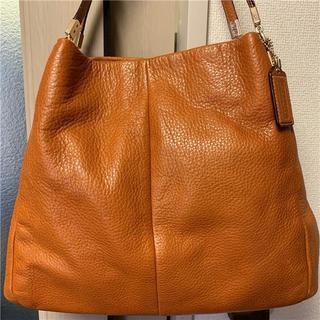 コーチ(COACH)の美品 COACH 約7万円 本革多収納ブラウンバッグ(ハンドバッグ)