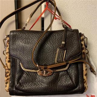 コーチ(COACH)のほぼ未使用 COACH 約5.5万円 本革&ヒョウ柄2WAYバッグ(ショルダーバッグ)