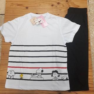 スヌーピー(SNOOPY)の新品タグ付き スヌーピー Tシャツ上下組 Lサイズ(ルームウェア)