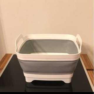 折りたたみソフト洗い桶 取っ手付 排水口 収納便利