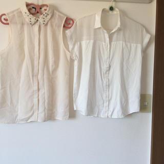 ジーユー(GU)のGU エアリーブラウス & forever21 フェイクパール付きブラウス(シャツ/ブラウス(半袖/袖なし))
