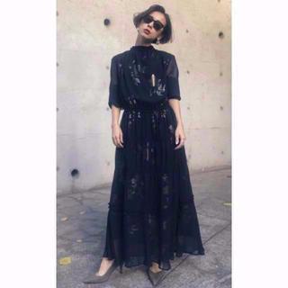 Ameri VINTAGE - BELINDA SHIRRING LONG DRESS アメリ ブラック M