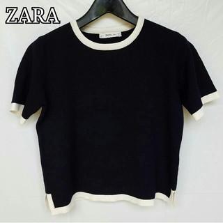 ZARA - ZARA ニット 半袖 ネイビー&ホワイト レディース 美品
