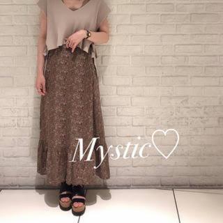 mystic - ミスティック 花柄ティアードマキシスカート