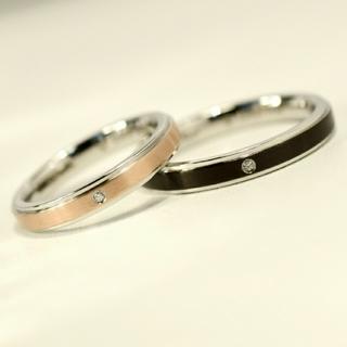 名入れ無料 平仮名 漢字可 スリムバイカラー  ペア リング 2個 (リング(指輪))