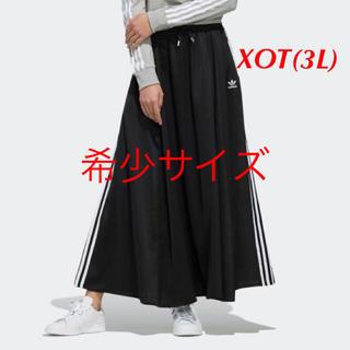 アディダス(adidas)の【レディースXOT(3L)】黒  ロングサテンスカート(ロングスカート)