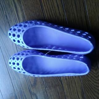 穴開きパンプス23.5パ一プル紫色涼しい(レインブーツ/長靴)