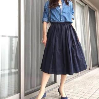 ユニクロ(UNIQLO)のUNIQLO コットンミディスカート(ひざ丈スカート)