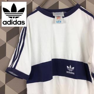 アディダス(adidas)の【Adidas】90年代 刺繍 トレフォイル ロゴ 袖ライン リンガーTシャツ(Tシャツ/カットソー(半袖/袖なし))