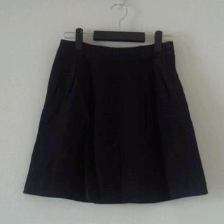 ムジルシリョウヒン(MUJI (無印良品))の無印☆シンプルリネン黒スカート☆(ひざ丈スカート)