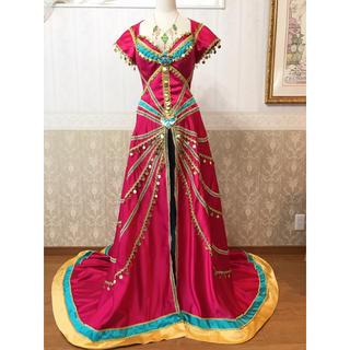 ディズニー(Disney)の❁Dハロ❁実写版アラジン❁ジャスミン風デラックス衣装❁赤ドレスバージョン❁新品(ロングドレス)