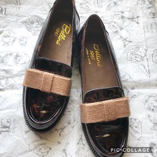 ドゥーズィエムクラス(DEUXIEME CLASSE)のDIEGO BELLINI 定番エナメルリボンローファー 別注品 36(ローファー/革靴)