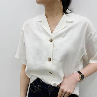 ジーユー(GU)のgu リネンブレンドシャツ(シャツ/ブラウス(半袖/袖なし))
