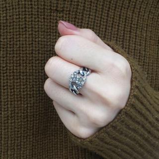トゥモローランド(TOMORROWLAND)のhum ブラウンダイヤ プレートリング  定価約11万(リング(指輪))