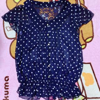 シマムラ(しまむら)の紺色 トップス Mサイズ  (カットソー(半袖/袖なし))