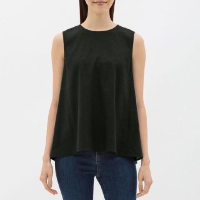 GU(ジーユー)のGU リネンブレンド Aラインブラウス ノースリーブ レディースのトップス(シャツ/ブラウス(半袖/袖なし))の商品写真