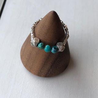 カレンシルバー と天然石ターコイズのピンキーリング(リング(指輪))