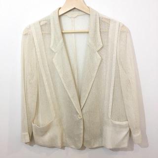 透かし編み シースルー レース ジャケット 白 (テーラードジャケット)